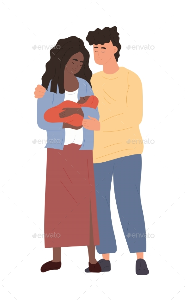 Mother and Father Holding Newborn Baby