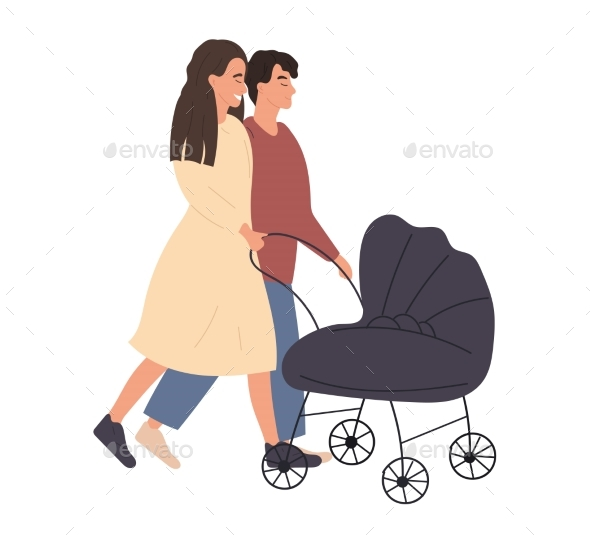 Couple of Man and Woman Walking with Stroller