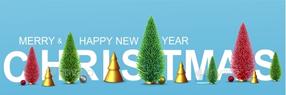 Christmas Banner with New Year's Decorative Green