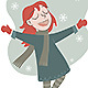 Little Girl Jumps Happy Because it is Snowing - GraphicRiver Item for Sale