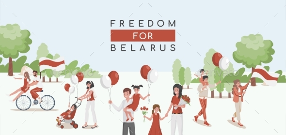 People of Belarus Walking with Red and White