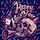 Skull Holding Bottle New Year Celebration - GraphicRiver Item for Sale