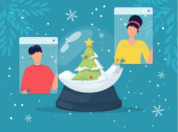 Online Christmas Celebration Snow Globe and People