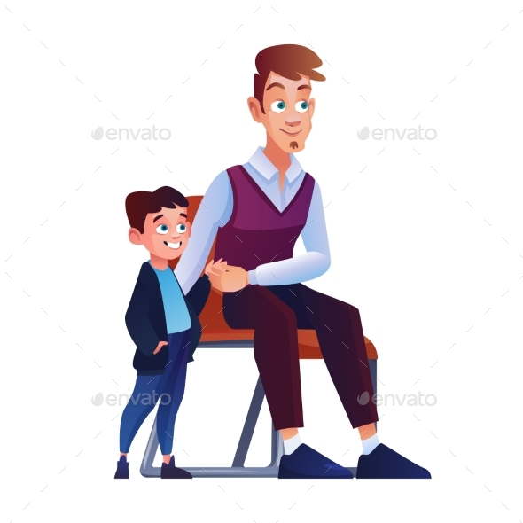 Father and Son Waiting Turn on Chair in Queue Line
