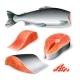 Vector Realistic Salmon Fish Head Cut Restaurant - GraphicRiver Item for Sale