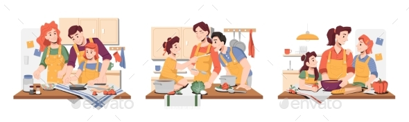 Family Cooking in Kitchen, Children and Parents
