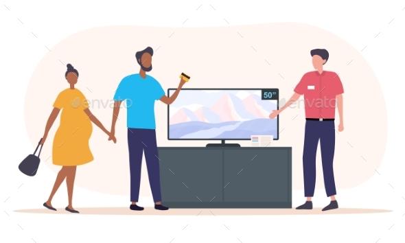 Couple Buying Flat Screen TV