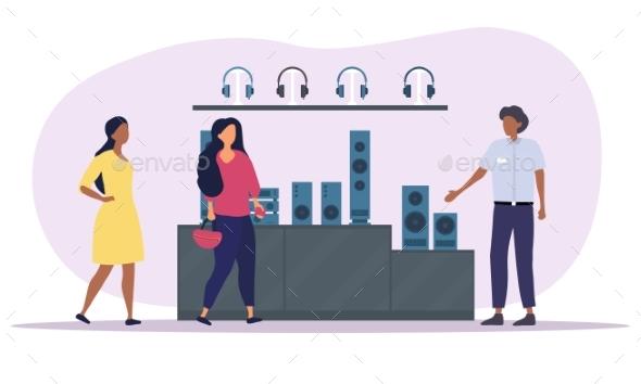 Multiracial Women Buying Sound System