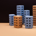 Blue brown abstract town houses on black beige background. - PhotoDune Item for Sale
