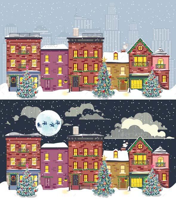 Retro Town Facades in Christmas