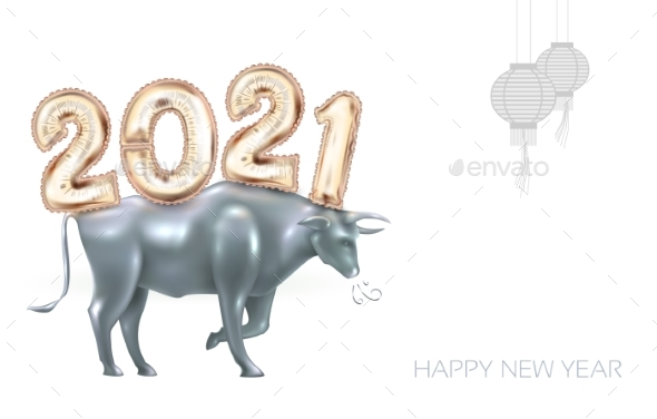 2021 Numbers in Chinese Style with Ox