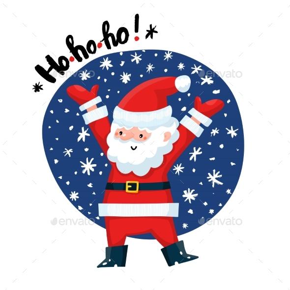 Santa Claus with HoHoHo Text