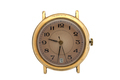 Gold watch with brown dial and Arabic numerals. Isolated over white background. - PhotoDune Item for Sale