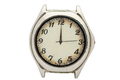 Chrome watch with white dial and Arabic numerals. Isolated over white background. - PhotoDune Item for Sale
