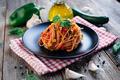 Spaghetti with eggplant, zucchini, paprika and tomato sauce - PhotoDune Item for Sale