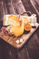 Lemonade drink with lemon slices, ice, orange juice in mason jars - PhotoDune Item for Sale
