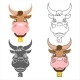 Ox Cow Animal Heads Set Design Vector Illustration - GraphicRiver Item for Sale
