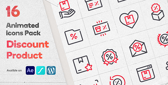 Discount Product 16 Animated Icons Pack - Wordpress Lottie Json Animation SVG