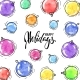 Watercolor Christmas Balls Frame of Hand Drawn - GraphicRiver Item for Sale