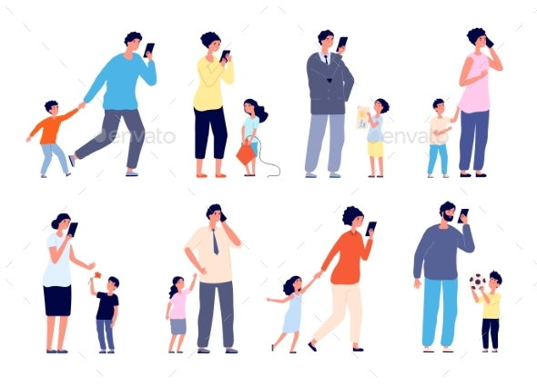 Busy Parents. Social Stress, Children Need Mother