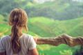 Cute young girl admiring Longji Rice Terraces - PhotoDune Item for Sale
