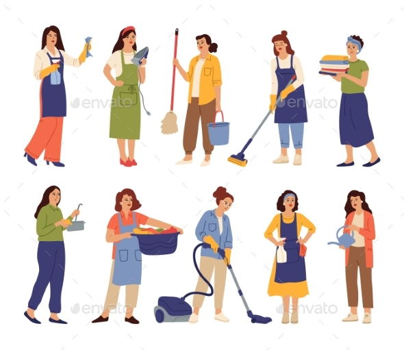 Housewives Character. Mother Cooks, Housekeeper