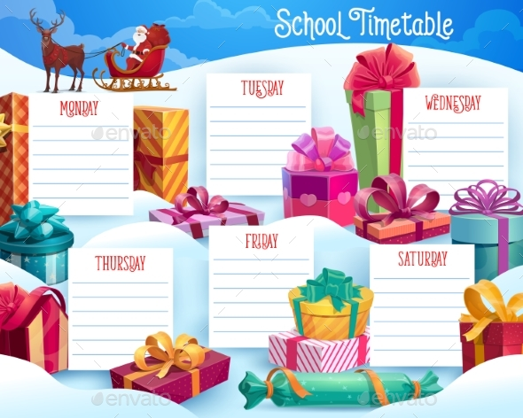 School Timetable with Christmas Gifts and Santa