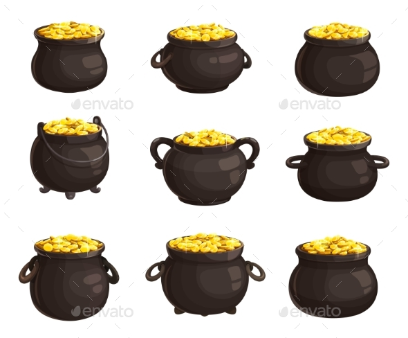 Pots, Cauldrons with Gold Isolated Vector Icons