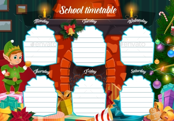 Winter Holiday School Timetable with Christmas Elf