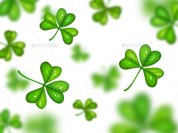 Shamrock on White Background with Blurred Effect.