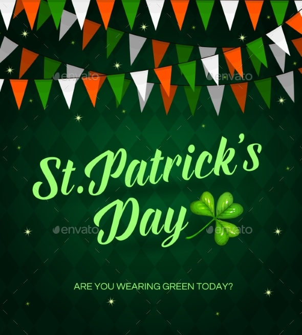 St. Patrick Day Cartoon Vector Poster with Garland