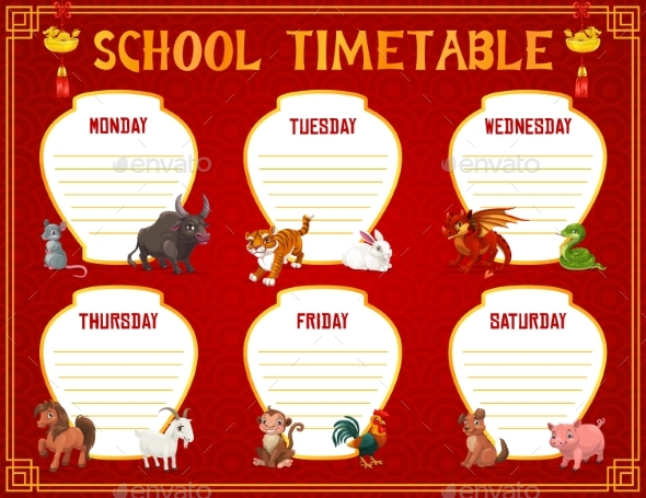 School Timetable with Chinese Zodiac Animals