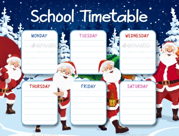 School Timetable Template with Santa Character