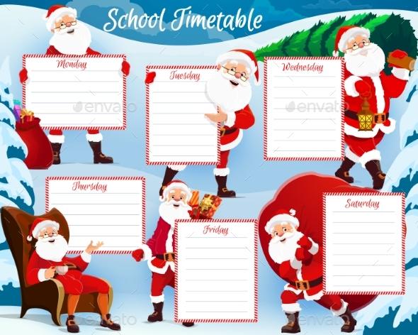 Christmas Holidays Kids Planner, School Timetable