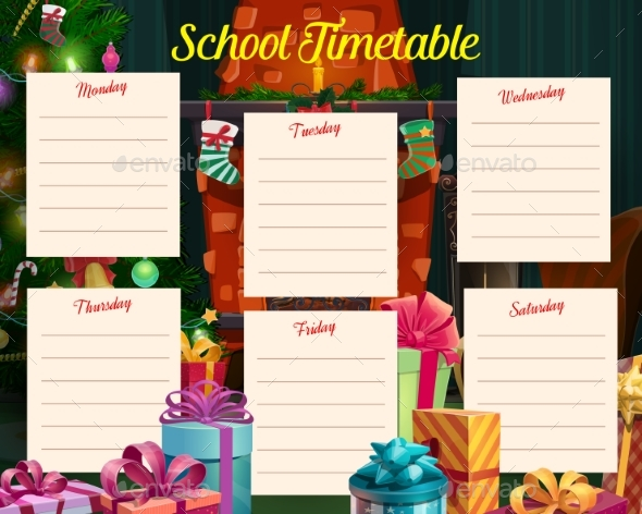 Christmas Holidays School Timetable with Gifts