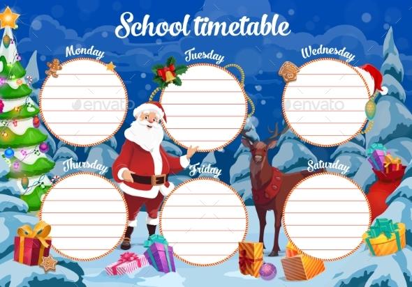 Christmas School Timetable with Santa and Reindeer