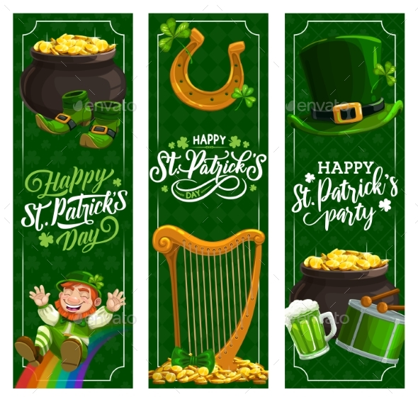 St. Patricks Day Banners or Irish Religion Holiday