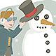 Boy with Glasses Making a Snowman - GraphicRiver Item for Sale