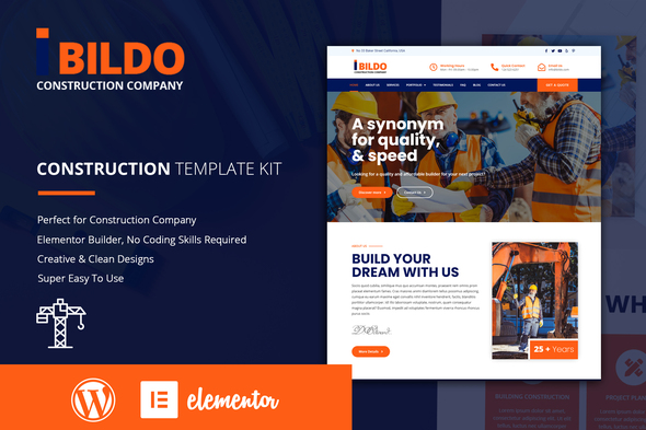 Bildo - Construction Elementor Template Kit