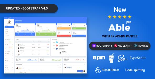 Szablon administratora Able pro 8.0 Bootstrap 4, Angular 8 i React Redux