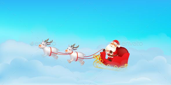 Santa Claus Sleigh with Reindeer