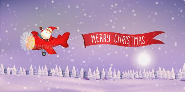 Santa Claus Flying with Ribbon Banner