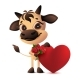 Bull Holding Heart Bouquet Roses - GraphicRiver Item for Sale