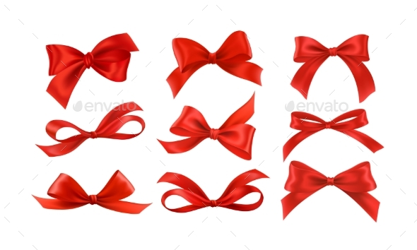 Gift Bows Silk Red Ribbon with Decorative Bow