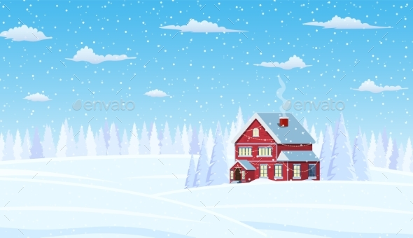 Christmas Landscape Background Snow Tree