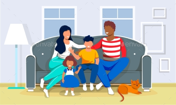 Happy Multiracial Family Is Sitting Couch