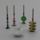 Glass candlesticks and candles - 3DOcean Item for Sale