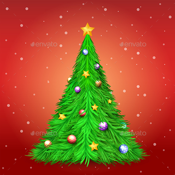 Christmas Tree with Decoration Ball and Star on Red Background with Snow
