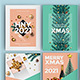 Set of 12 Christmas and Happy New Year Card Template - GraphicRiver Item for Sale