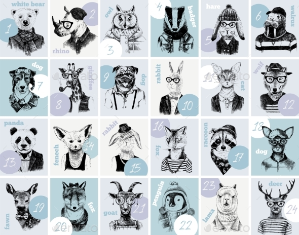 Advent Calendar with Animals Hipsters